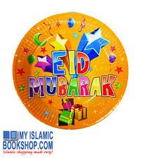 "Eid Mubarak Plates 9"" (12 Pack) Celebration Decoration Muslims Kids Party"