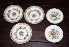 "Set of 5 Pieces Coalport Ming Rose 3 Trinket Bowls 4-3/4"" and 2 Trinket Plates"