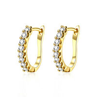 14k Gold Plated Huggie Hoop Womens Earrings Made with Swarovski Crystals ITALY