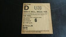 THE WHO ORIGINAL CONCERT TICKET KINGS HALL MANCHESTER UK 6TH OCTOBER 1975