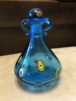 "Vintage Op-Art Glass Empty Perfume Bottle with Stopper Aqua Blue Hand Blown 6"""
