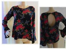 $39.00 One Clothing Junior's Bell Sleeve Top, Navy/Red Floral, XS