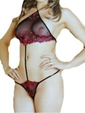 New Black & Red Open Front Teddy UK 8 Sexy Sheer bodysuit all in one thong back