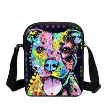 Art Pitbull Pug Small Messenger Bag Kids Cross Body Purse Casual Shoulder Bag