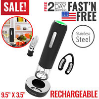 Electric Wine Bottle Opener Automatic Corkscrew Cordless Cutter Opening Kit