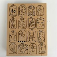 Paula Best Word Tag Wood Mounted Rubber Stamp Hope Dream Art Peace Love V4-3220