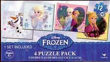 """Jigsaw Puzzle DISNEY FROZEN Princess Colorful 12 pcs each 5"""" x 4.5"""" 4  Pack S2"""