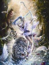 Matted Futuristic White Tiger Foil Art Print~Affordable Art~8x10~Animal