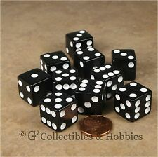 NEW 10 Black w White D6 6 Sided RPG Bunco Game Dice Set 16mm 5/8 inch
