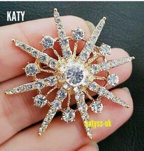 Vintage Art Deco Style Gold Star Diamante Crystal Starburst BROOCH Broach Pin