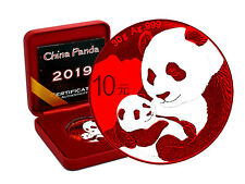 10 Yuan Silber China Panda 2019 Space Red Edition in Box