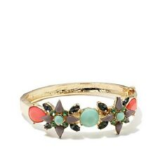 """Cara Couture Jewelry Multicolor Stone Goldtone 7-1/2"""" Hinged Bangle Bracelet HSN"""