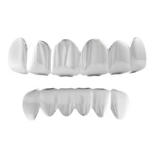 Genuine 925 Sterling Silver Polished Teeth Grillz Combo Custom