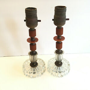 Pair Candlestick Bakelite Lamps butterscotch orange pressed glass MCM unwired