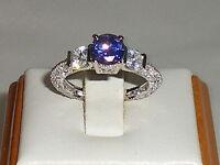Ladies Art Deco Style Sterling 925 Fine Silver Tanzanite & White Sapphire Ring