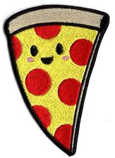 Smiling Peperoni Pizza Slice applique patch Iron or Sew on Patch