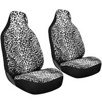 2pc SUV Seat Covers White Snow Leopard Cheetah Print High Back Front Bucket
