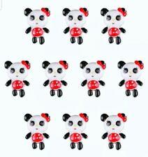 8PC Girl Panda Bear Flat Back Embellishment Scrapbooks Hair Bows Cupcake Toppers