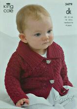 CROCHET PATTERN Babies Lacy Jacket with Collar and Pockets DK King Cole 3479