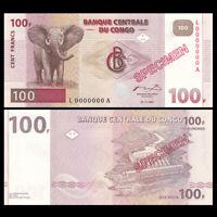 Congo 100 Francs, 1997, P-90S, SPECIMEN, UNC