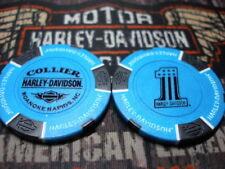 Light Blue & Black #1 Poker Chip Collier Harley Davidson Roanoke Rapids, NC