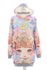 T-519 Manga Girl Sweet Bunny Pastel Goth Lolita Pullover Sweatshirt Harajuku