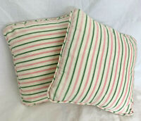 2 VINTAGE NETTLE CREEK Two Throw Pillows Stripe Green Pink Removable Cover