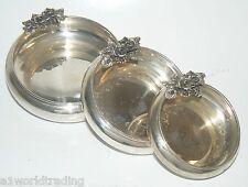Balyan Silver 900 Three Bowl Plate Set with Flower Design at Edge