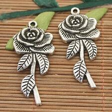 16pcs dark silver tone rose flower charms h3132