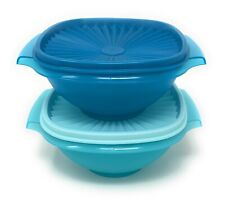 Tupperware Classic Servalier Bowls Set of 2 (5) Cups in Blue
