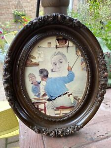 Antique Oval Hand Carved Wood Frame 12""