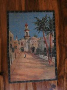 THE KWIZ 1930s 250 pc RARE WOODEN JIGSAW PUZZLE GATE TO THE MOSQUE WITH WHIMSIES