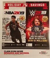 NBA 2K19 / WWE 2K19 Promo Gamestop Poster. Rare.