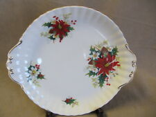ROYAL ALBERT POINTSETTIA HANDLED CAKE PLATE IN EXCELLENT CONDITION