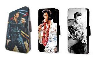 Elvis Presley design faux leather card flip phone case iPhone Samsung
