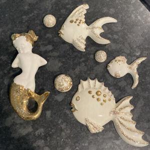 Vintage Mid Century Chalkware Fish And Mermaid