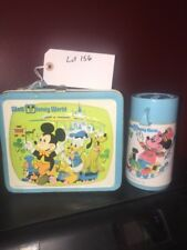 Old Vtg Aladdin WALT DISNEY WORLD Mickey Mouse Metal Lunchbox W/Thermos lot 156