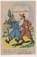 CPA HUMOUR MILITARIA Militaires t es fou une fausse barbe camouflage vieux 1946
