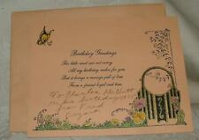 VINTAGE 1930s  Birthday Card & Envelope Silver Foil Lining Garden Gate Butterfly