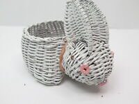 Vintage White Wicker Easter Bunny Rabbit Basket Container