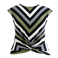 New Ex. Principles Black Yellow Stripe Twist Front Jersey Top Sizes 10-18