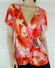 Kamiko Top Size 14 Short Sleeves Wrap Blouse Stretch Orange Pink Abstract Beads