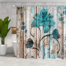 Floral Flower Shower Curtain Rustic Shower Curtain Set Teal Flower Butterfly NEW