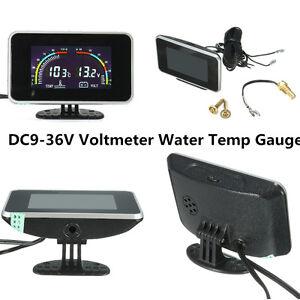 Universal Car Truck Digital Water Temp Gauge Voltage Meter Flash Thermo Alarm