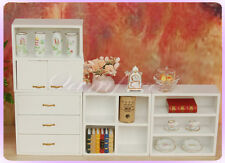 1/12 Doll house Living Room Wood Hutch Shelf drawer Cabinet 4pcs set Furniture