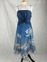 Ladies Dress Size 12 COAST Blue Net White Fit And Flare Party Evening Wedding