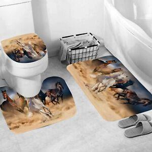 Battle Steeds Shower Curtain Set Bathroom Rug Non-Slip Bath Mat Toilet Lid Cover