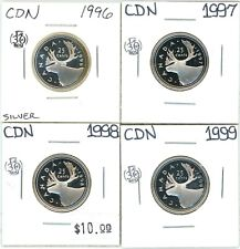 1996 1997 1998 1999 Canada Proof 25 Cents Lot of 4 Uncirculated Silver #12944