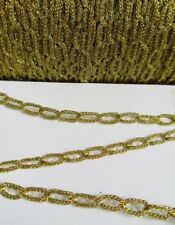 5MM Metallic Antique Gold Brass Braided Eyelet Chain Trims 4 Yards (T909)
