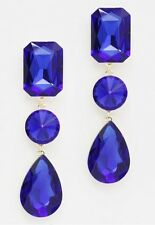 "3"" Long Rhinestone Royal Blue Pageant Wedding Crystal Earrings Silver pierced"